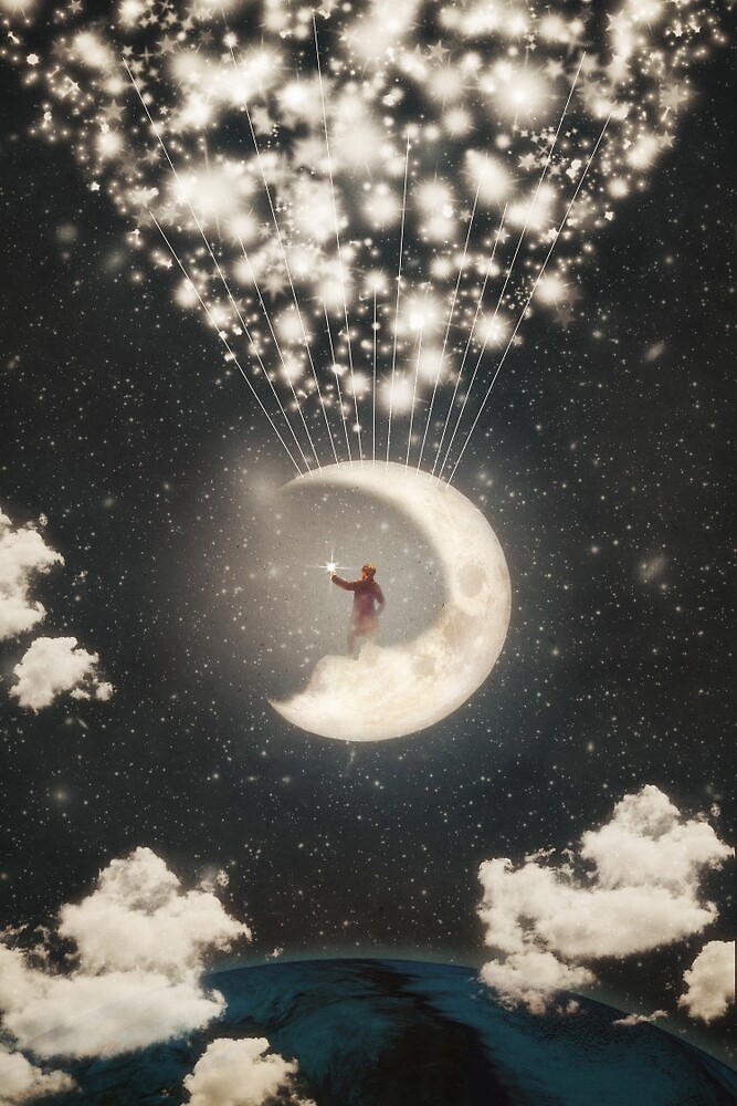 Quot The Big Journey Of The Man On The Moon Quot By Paula Belle Flores Redbubble