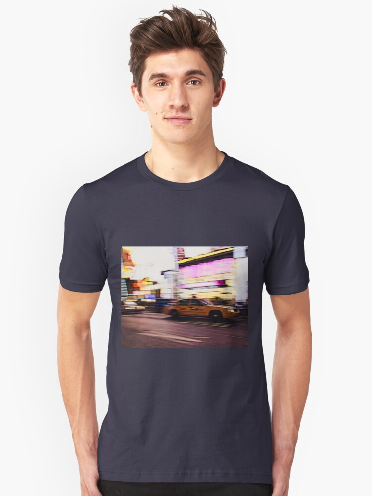 New York City, Taxi at Times Square Unisex T-Shirt Front