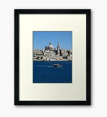 Valletta Waterfront Colourful Luzzu Fishing Boat Malta Framed Print
