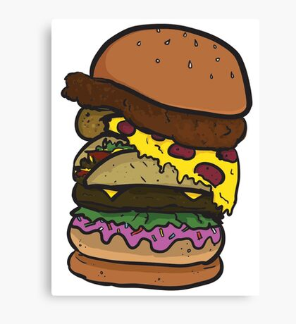 The Ham-chick-za-aco-nut-burger! Canvas Print