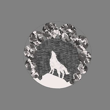 Wolf howl to the moon | Grey by Joschkit