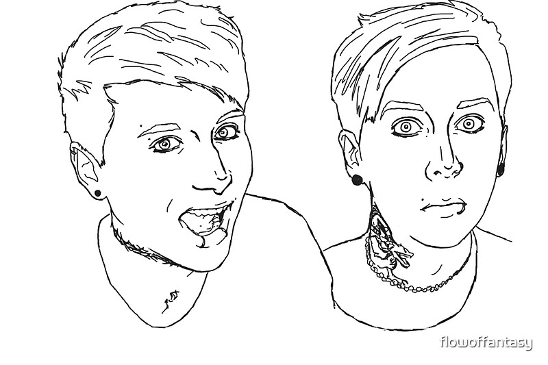 """""""quick b&w digital art of dan and phil"""" Stickers by ..."""