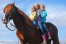 3 Girls on a Stallion by Cathy Jones
