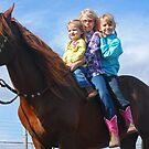 3 Girls on a Stallion by Cathy Jones