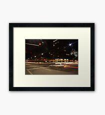 Light trails, city intersection,Adelaide Framed Print