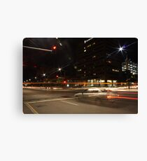 Light trails, city intersection,Adelaide Canvas Print