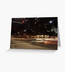 Light trails, city intersection,Adelaide Greeting Card