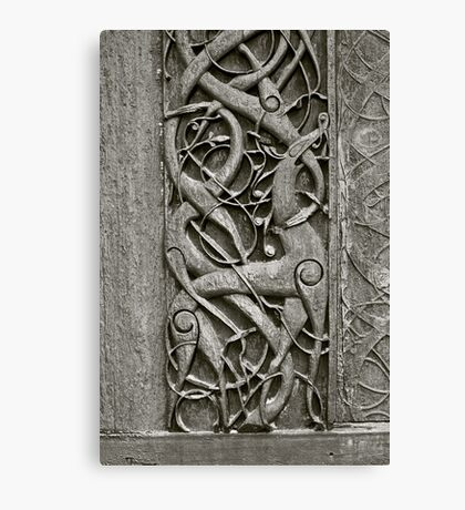 """Viking Age  typical animal-ornamentation, the so called """"Urnes style"""" of animal-art. Urnes Stave Church (Norwegian: Urnes stavkirke).   North portal deatail. by Brown Sugar. Views (186) Favs (2)  Thx! Canvas Print"""