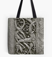 """Viking Age  typical animal-ornamentation, the so called """"Urnes style"""" of animal-art. Urnes Stave Church (Norwegian: Urnes stavkirke).   North portal deatail. by Brown Sugar. Views (186) Favs (2)  Thx! Tote Bag"""