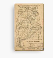 Vintage Map of Alabama (1866) Canvas Print