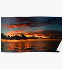 Beautiful sunset at tropical island Key Largo, FL Poster