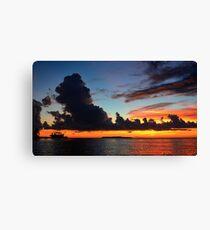 Beautiful sunset at tropical island Key Largo, FL Canvas Print
