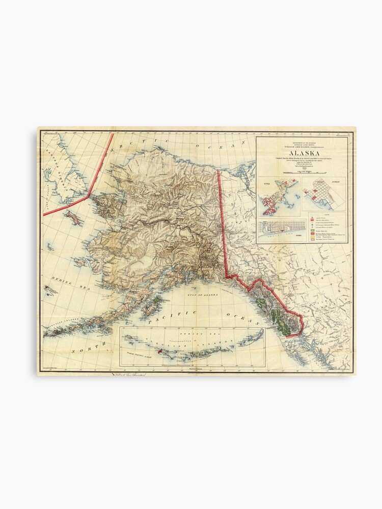photograph relating to Printable Map of Alaska titled Common Map of Alaska (1906) Steel Print