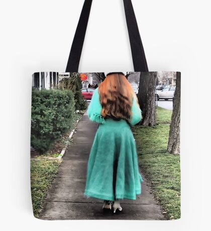 The Lady in Green Tote Bag