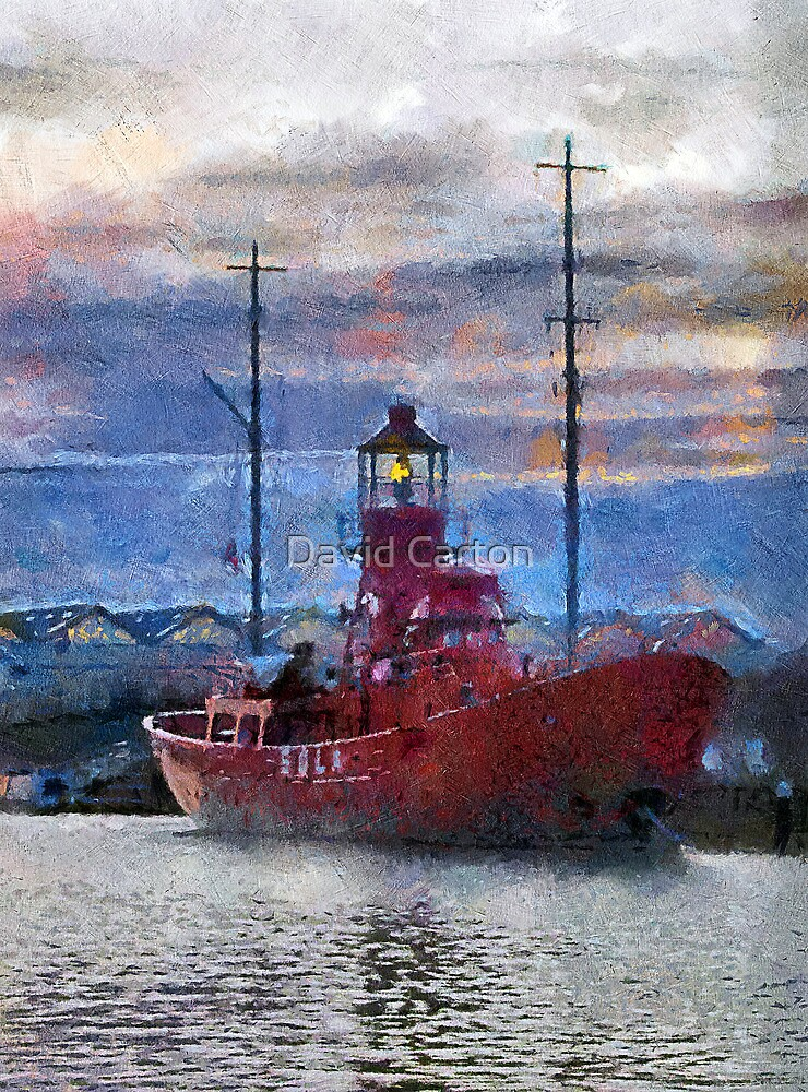 Lightship Sula, Dusk, Gloucester Docks, UK by David Carton