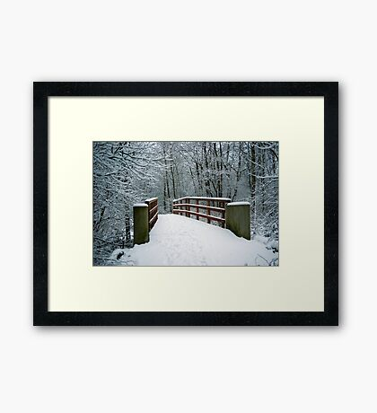Bridge between white worlds Framed Print