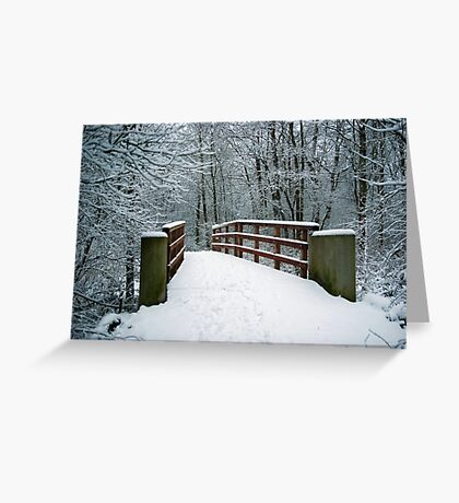 Bridge between white worlds Greeting Card