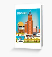 Milwaukee, Wisconsion - Vertical Retro Themed Skyline by Loose Petals Greeting Card