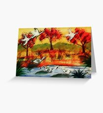 The Gathering of Feathered friends, watercolor Greeting Card