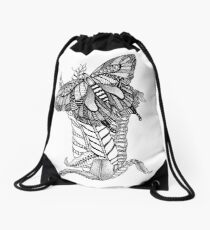 Zentangle Swallowtail Butterfly Drawstring Bag
