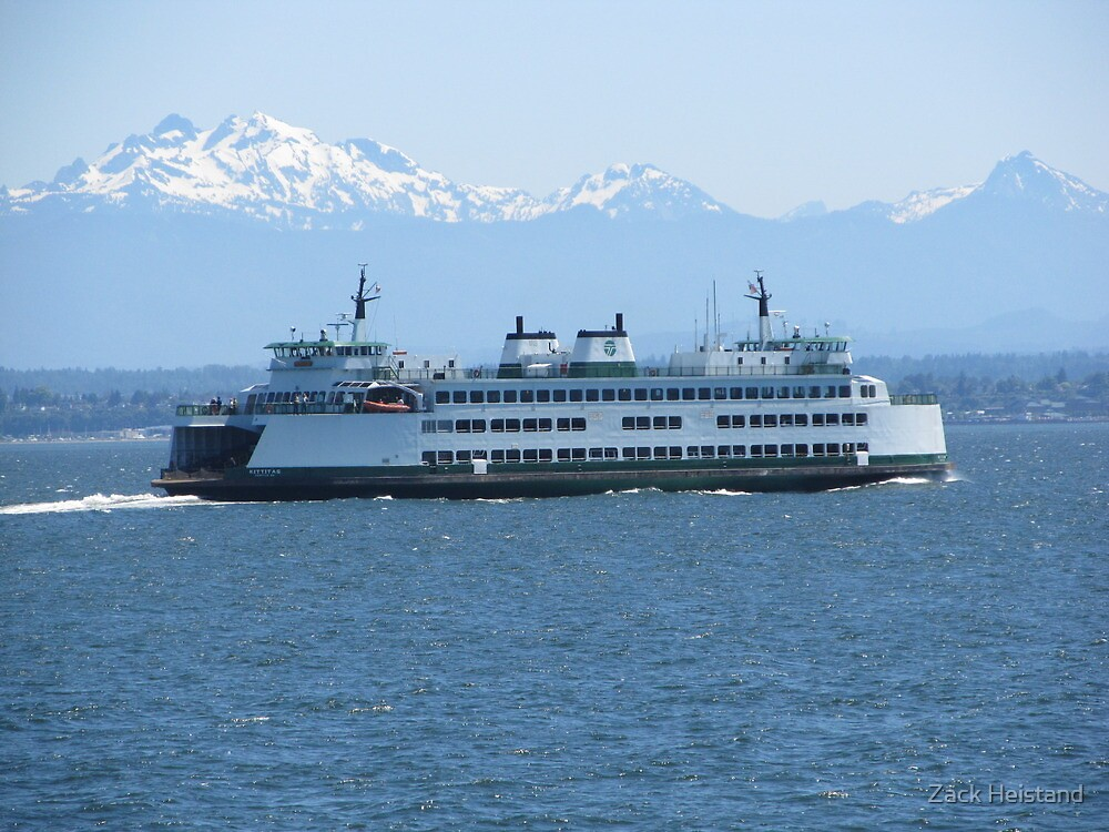 Washington State Ferry Kittitas and the Cascade Mountains by Zack Heistand