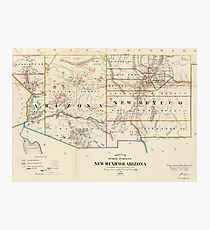 Vintage Map Of Arizona And New Mexico 1866 Photographic Print