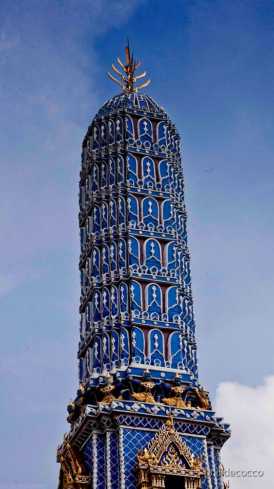 Blue Spire of A Stupa by phil decocco
