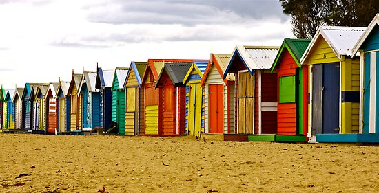 Brighton Beach Bathing Boxes by Ronald Rockman