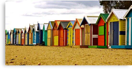 Brighton Beach Bathing Boxes by Ronald Rockman