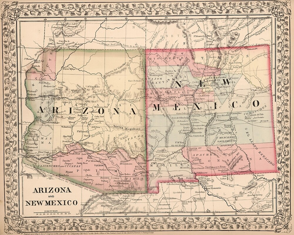Vintage New Mexico And Arizona Map By BravuraMedia Redbubble - Map of new mexico and arizona