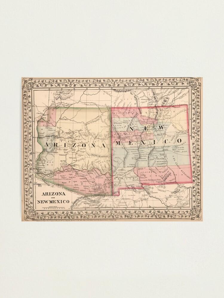 Vintage New Mexico and Arizona Map (1868)   Photographic Print