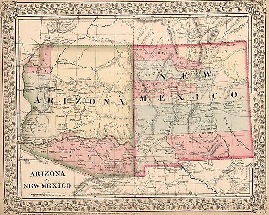 Vintage New Mexico and Arizona Map (1868)\