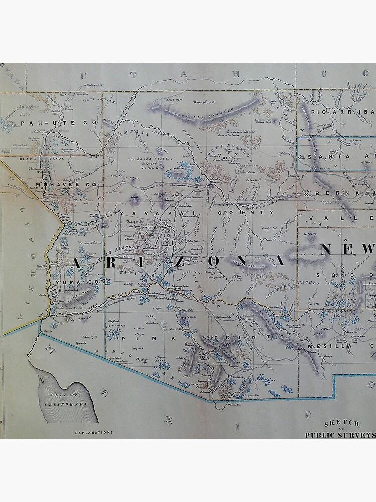 Vintage Karte von Arizona (1866) von BravuraMedia