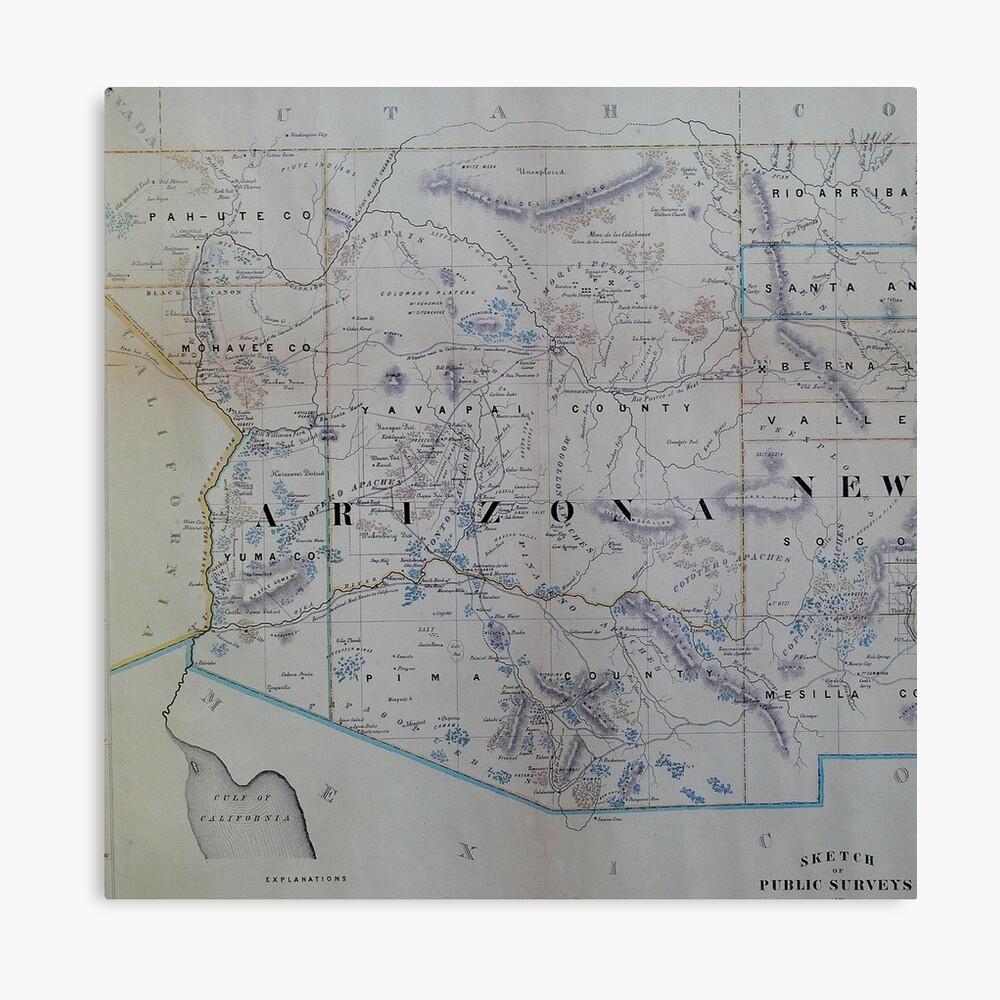 Vintage Karte von Arizona (1866) Leinwanddruck