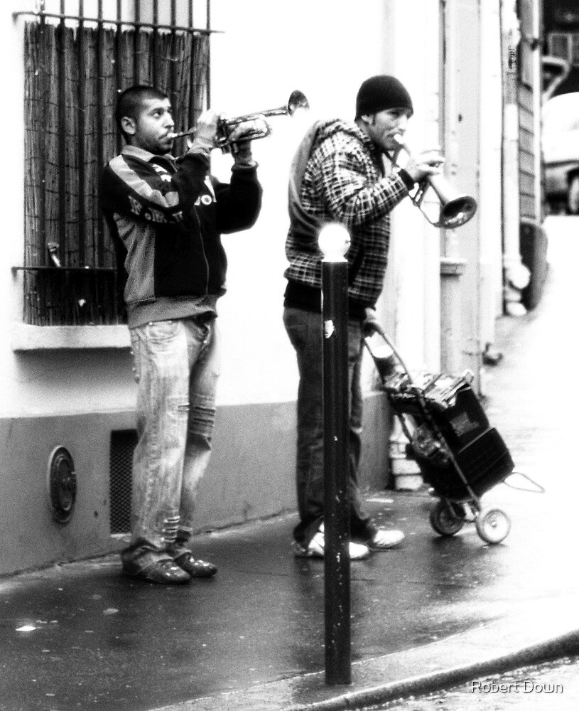 Two jazz playing buskers by Robert Down