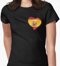Spanish Flag - Spain - Heart Womens Fitted T-Shirt