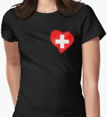 Swiss Flag - Switzerland - Heart T-Shirt