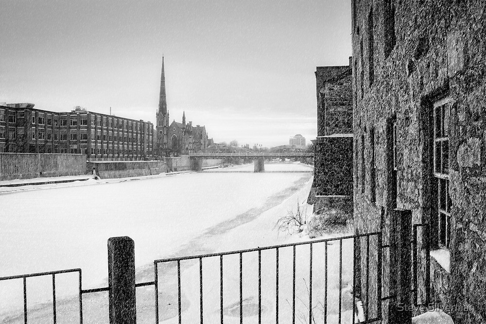Snow Squall Over the Grand River by Steve Silverman