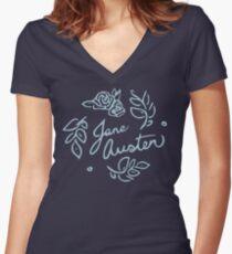 Jane Austen Floral Print Women's Fitted V-Neck T-Shirt