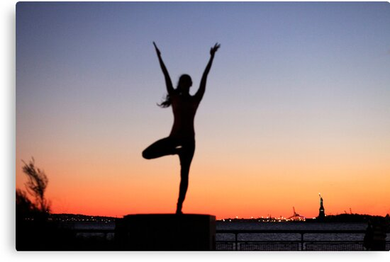 Tree pose silhouette in front of the Statue of Liberty, New York by Wari Om  Yoga Photography