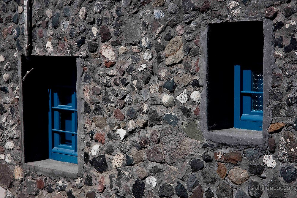 Stone Wall, Framed Blue Windows  by phil decocco