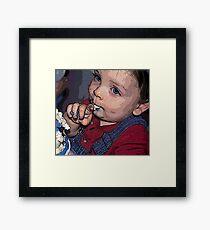 BIRTHDAY BOY LICKING FROSTING Framed Print