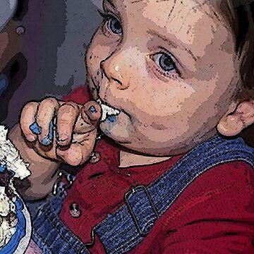 BIRTHDAY BOY LICKING FROSTING by gaelcee