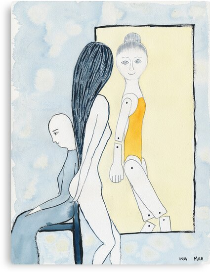The painter's model in front of the mirror by Ina Mar