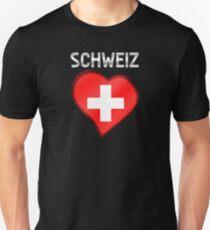 Schweiz - Swiss Flag Heart & Text - Metallic Unisex T-Shirt