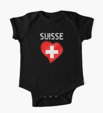 Suisse - Swiss Flag Heart & Text - Metallic Kids Clothes