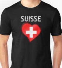 Suisse - Swiss Flag Heart & Text - Metallic Unisex T-Shirt