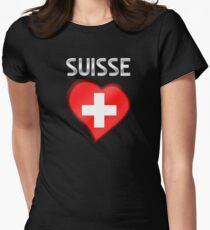 Suisse - Swiss Flag Heart & Text - Metallic T-Shirt