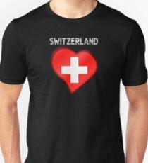 Switzerland - Swiss Flag Heart & Text - Metallic Unisex T-Shirt