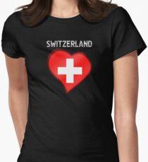Switzerland - Swiss Flag Heart & Text - Metallic T-Shirt